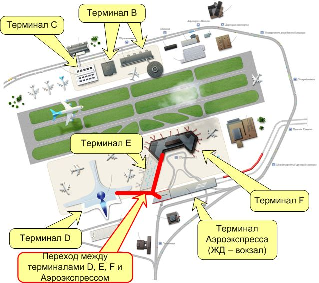 Как добраться из терминала d в терминал c шереметьево